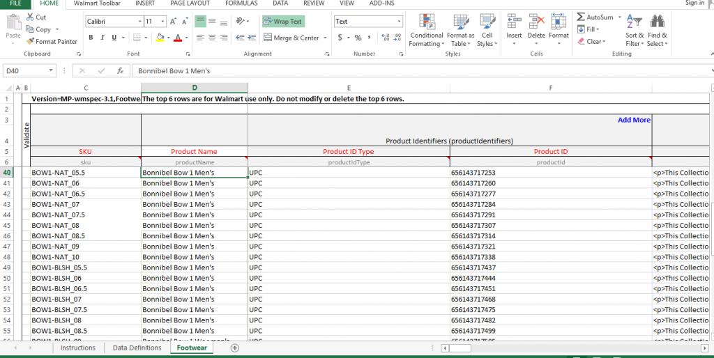Walmart Information Update Through Excel Feed Step 1