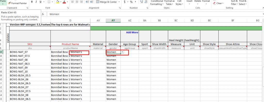 Walmart Information Update Through Excel Feed Step 2